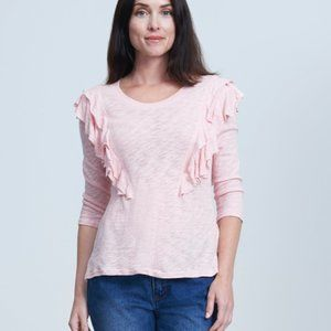Seven7 Double Ruffle Pink Top Size Medium NWT
